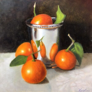 """""""Clementines with Silver Vessel"""" Carol Austin –Painting"""