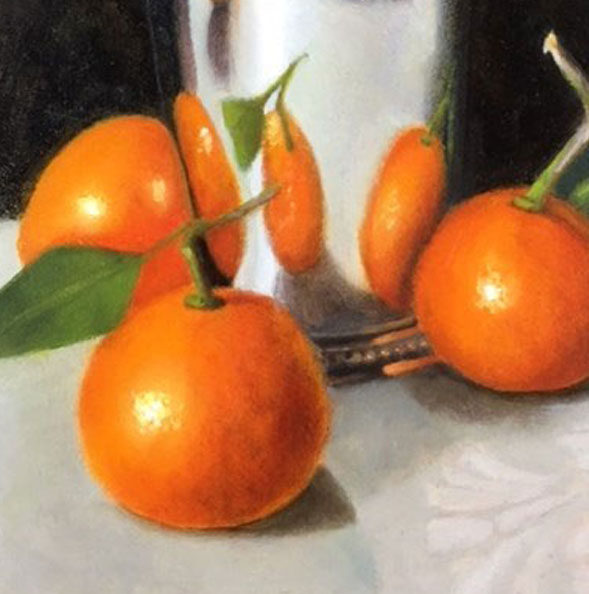 """""""Clementines with Silver Vessel"""" Carol Austin – Painting"""
