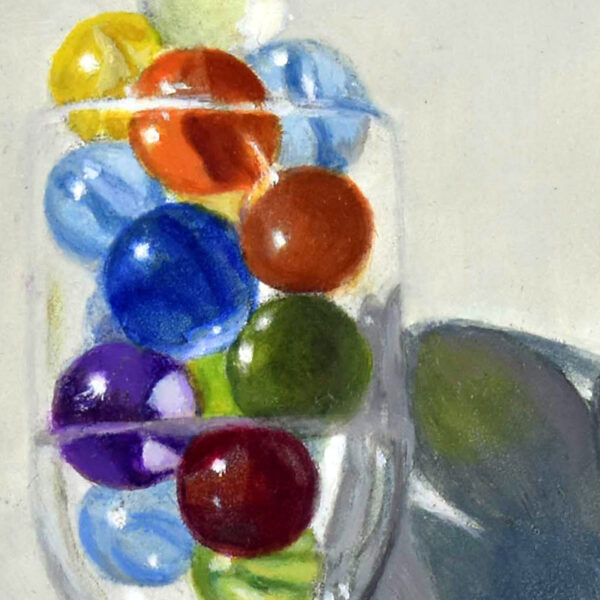 """""""Marbles in a Glass"""" Carol Austin – painting"""