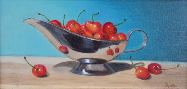 """""""Cherries in a Silver Boat"""" – Carol Austin – painting"""