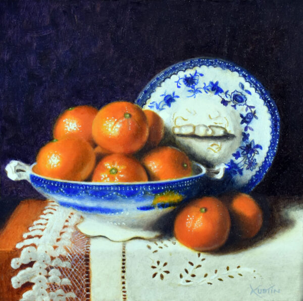 """""""Clementines and Blue Flow"""" –Carol Austin – painting"""