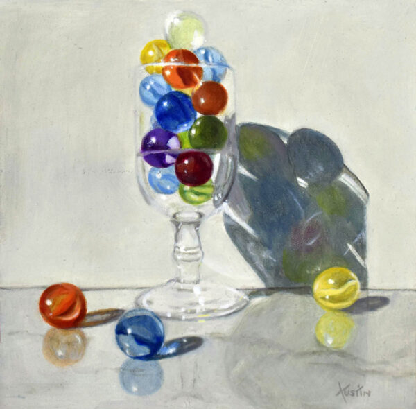 """""""Marbles in a Glass"""" Carol Austin –painting"""