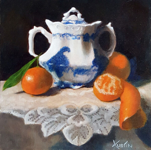 """""""Sugar Pot with Clementines"""" – Carol Austin –painting"""